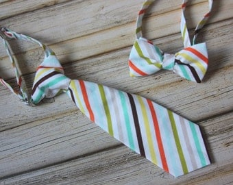White, Orange, Yellow, Green, Blue, Tan and Brown Stripe Neck Tie or Bow Tie  (BowTie) for Baby, Infants, Toddlers, Youth, Boys, Men