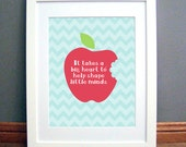 It Takes A Big Heart Teacher Quote Printable Wall Art, Apple, , Chevron, Downloadable pdf