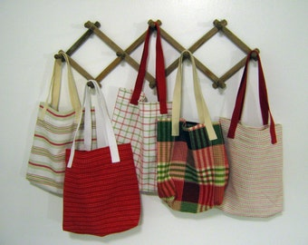 Christmas Tote Bag: Women's Purse, Red, Green, White, Holiday Shoulder Bag, Novelty Dish Towel Handbag