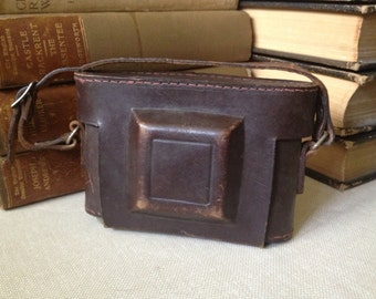 Vtg Brown Leather Camera Case // Leather Carry Strap