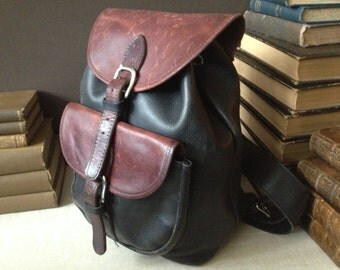Black and Brown Leather Backpack, Made in USA, Distressed Handbag Rucksack
