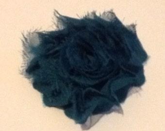 Chiffon Fabric Teal Rosette Flower Hair Clip