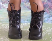 Black Faux Leather Army Boots for American Girl Boy
