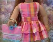 Summer Plaid Dress and Headband for American Girl Dolls