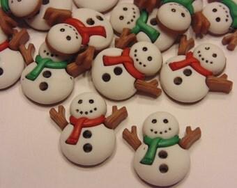 4 piece jolly snowman button mix, 16 x 18 mm (41)