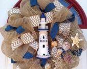 """Lighthouse Beach Burlap Mesh Wreath 22"""""""