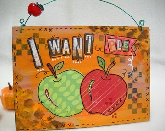 Apples autumn fall harvest art wooden signs original mixed media painting art whimsical wall décor quotes wall art