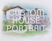 Custom House Portrait - Reserved for alliepazz