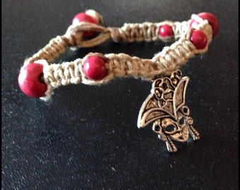 Red Pirate Girl Hemp Bracelet B354