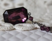 Amethyst Purple Necklace... Large Rectangle Octagon... Swarovski Crystal... Gunmetal... Plum