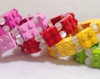 LEGO Stretch Bracelet with White Plastic Beads