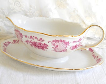 SALE vintage porcelain sauce boat german porcelain pink floral sauce boat pink and gold Theresia shabby chic