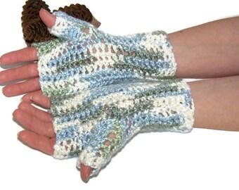 Fingerless Gloves- Silky Yarn-multi colored