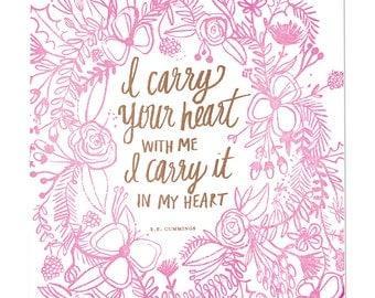 Carry Your Heart Letterpress Print
