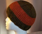 Beanie Hat Snowboard Ski Stocking Cap Brown Orange Wide Stripe Winter Hand Knit Boys