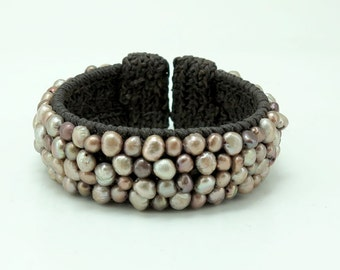 Light brown freshwater pearl cuff