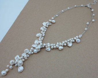 Wedding white freshwater pearl  necklace.