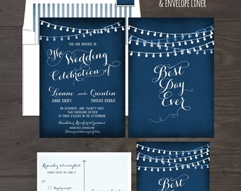 String Light Chalkboard Wedding Invitation Card and RSVP Best Day Ever Navy or Eggplant Colors Twinkle Lights Design fee