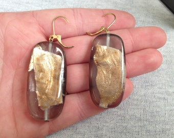 Vintage Costume Gold and Clear Beaded Earrings