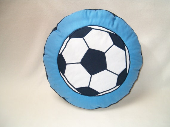 Football Fan Gift, SOCCER  PILLOW,  Ball Pillow- Blue and White Cushion -