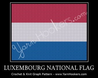 Luxembourg National Flag - Afghan Crochet Graph Pattern Chart by Yarn Hookers