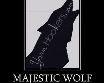 Majestic Wolf - Afghan Crochet Graph Pattern Chart - Instant Download