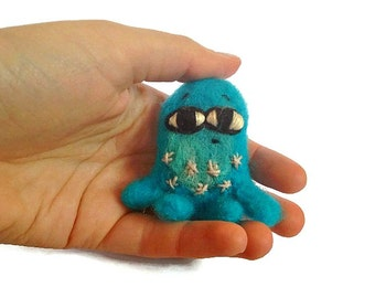 Miniature Felted Character, Needle Felted Primitive Monster Sculpture 'Cuthbert'