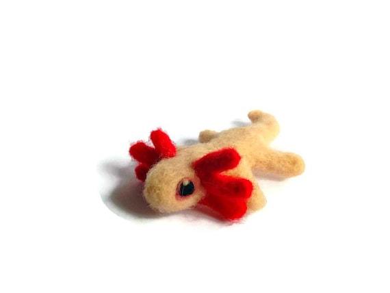 Miniature Axolotl Soft Sculpture, Needle Felted Amigurumi Folk Plush ('Sophie')