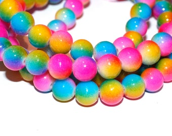 80pc Loose Bead Rainbow Color/Glass Beads/ Bracelet beads/ Necklace beads/8mm