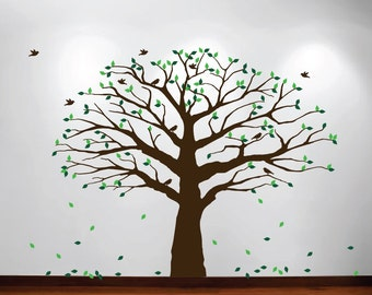 Large Wall Nursery Family Tree Decal Photo Branches Falling Leaves and Birds Sticker removable #1233 (Choose Colors and Size)