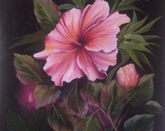 Pink Hibiscus Oil Painting on Box Canvas