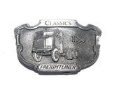 Vintage 1988 Solid Classics Freightliner Belt Buckle, Trucker, Big Rig, Tonkin, Made in USA, Antique Alchemy