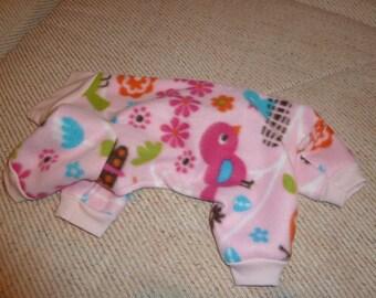 Small, Medium, Large Baby Birds and Flowers on Pink Fleece Doggy Pajama - Doggy Onesies, Spring Pajamas