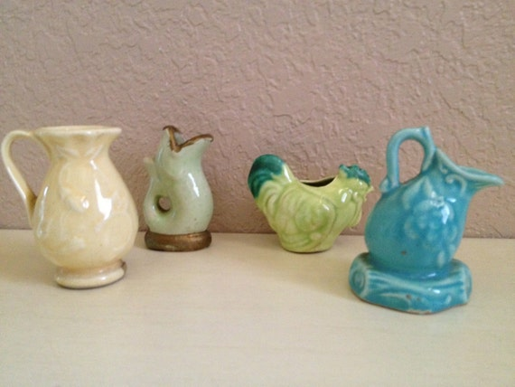 image vintage cermaic porcelain miniature pitchers jugs pouring