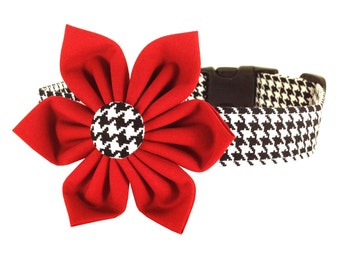 Red Houndstooth Flower Dog Collar, Houndstooth Dog Collar Flower: Black and White Houndstooth
