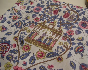 Vintage 1950's, 60's, 70's Kings Middle Eastern Floral Motif Fabric, 4 yards