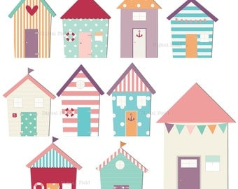 Beach huts clip art set - pastel printable summer digital clipart - instant download