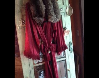Posey-Silk Lounging Coat Raccoon Collar, Theatre Burgundy Cuff Trim, Bridle Rosette Belt, Frog Closure, Lined, Pockets, Elegant, Frenchish