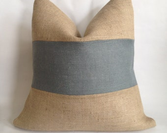 Natural Burlap and Gray Horizontal Stripe Pillow Cover