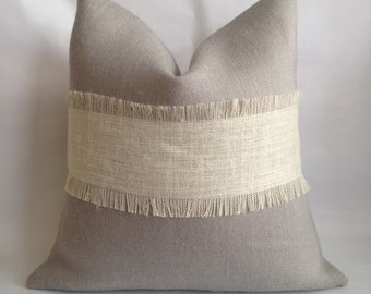 Light Gray Burlap with Fringed Cream Burlap Stripe and Natural Burlap Back Pillow Cover