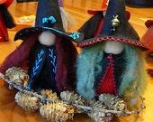 Large Black Witch Peg Doll, Waldorf Wooden Peg Doll, Handmade Miniature