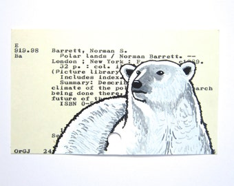Polar Bear Library Card Art - Print of painting of polar bear on library card catalog card for the book Polar Lands