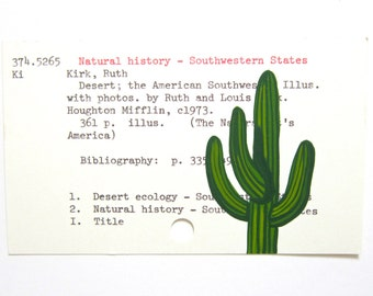 Cactus Library Card Art - Print of my painting of a saguaro cactus on library catalog card