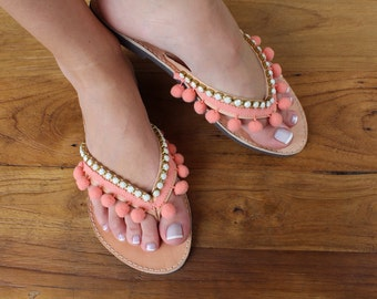 Leather flip flops. Pom pom coral sandals. Summer shoes. Beachwear sandals