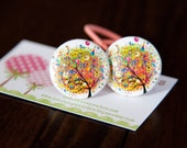 2 Piece Multi Color Lovely Tree Fabric Covered Button Hair Ties