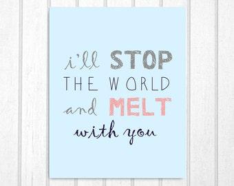 I Melt With You Lyrics Typographic Print