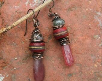 Rustic Tribal  Niobium  Hypoallergenic,Strawberry quartz Tribal Gemstone  Earrings