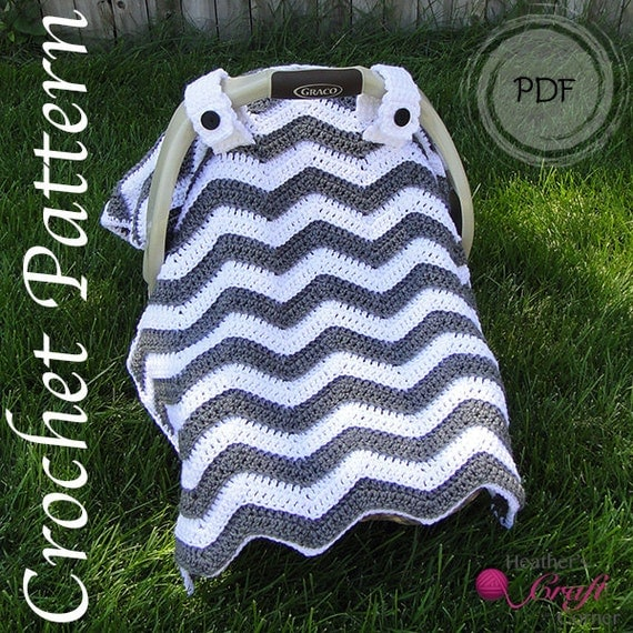 Chevron Crochet Car Seat Blanket