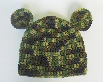 Green Camo  Hat With Ears 2 To 5 Years Old Boy Camouflage Cap  Girl Fall Hunting Beanie Winter Accessory Ready To Ship
