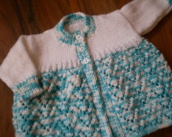 pretty blue and white mix hand knitted baby cardigan/ matinee jacket 0-3 month